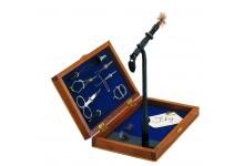 Fliegenbindeset in der Holzbox mit Bindewerkzeuge zum Fliegenbinden inklusive Bindestock